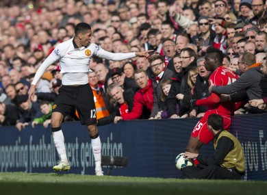 Balotelli was eyeing up Smalling after the pair clashed.