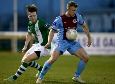 Kavanagh shields the ball from Daniel O'Reilly.