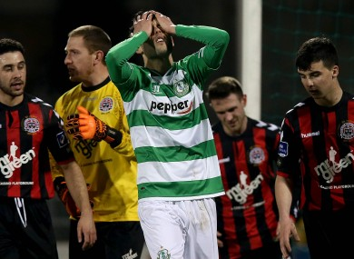 David Webster of Rovers reacts after going close.