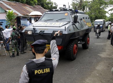 One of Indonesian police armored vehicles carrying two Australian prisoners arrives on Wijaya Pura port in Cilacap, Central Java.