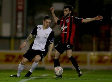 Marco Chindea of Athlone with Adam Wixted during their EA Sports Cup tie this week.