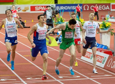 Mark English crosses the line to qualify for the 800m final.