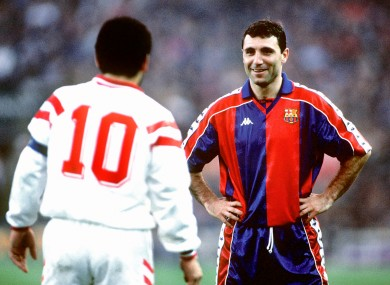 Stoichkov, pictured smiling at Diego Maradona, had two spells with Barca.