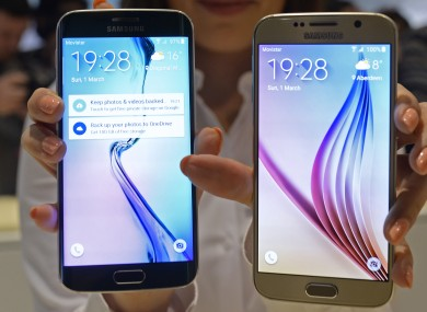 The Samsung Galaxy S6 (right) and S6 Edge  which will be released on 19th April.