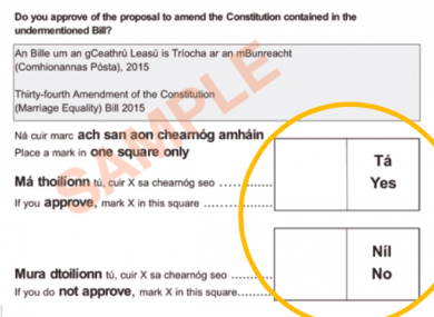 the people in charge of the referendum are confident this ballot  a sample of the ballot paper for the same sex marriage referendum