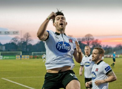 Richie Towell celebrates the second of his three goals.