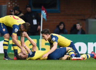 Ramsey celebrates his first half goal.