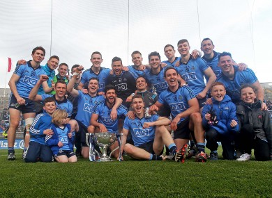 Dublin's players celebrate today's victory.