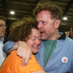 Andrew Hyland Director of Communications Yes campaign hugs Linda Cullen.<span class=