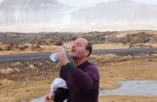 Here's what happens when you try to drink some water in Icelandic winds