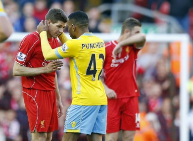 Jason Punchwon with Gerrard after the end of the game.