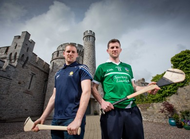 Colin Ryan of Clare and Donal O'Grady of Limerick at the launch of the 2015 Munster championship.