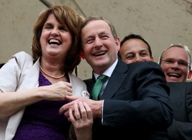 Joan Burton, Enda Kenny, Leo Varadkar and Simon Coveney at Dublin Castle earlier.