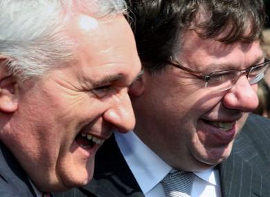 Bertie Ahern and Brian Cowen in happier times.
