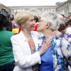 Katherine Zappone kisses her long-term partner Ann-Louise Gilligan.<span class=