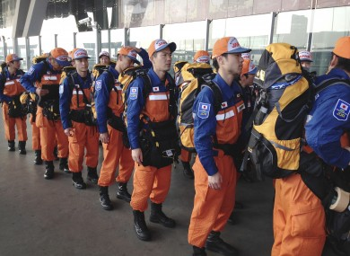 Members of a rescue team from Japan transit in Bangkok last month