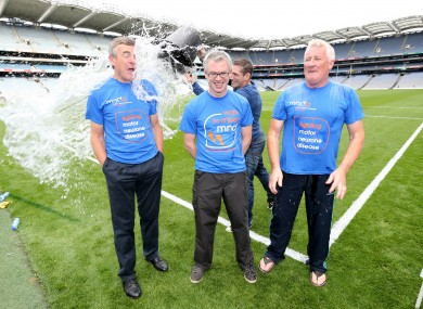 Joe Brolly, Pat Spillane and Colm O'Rourke pictured doing the Ice Bucket Challenge last year.