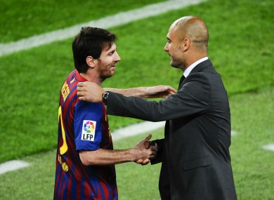 Lionel Messi with then Barcelona coach Pep Guardiola.