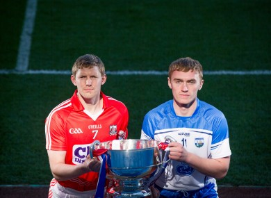 Cork's Lorcan McLoughlin and Waterford's Pauric Mahony.
