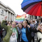 Members of the public celebrate the Yes Result in Dublin.
