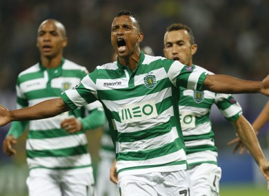 Nani celebrates a goal against Maribor in the Champions League.