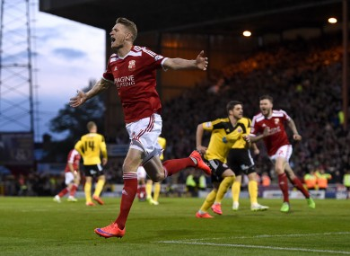 Swindon Town's Michael Smith celebrates after he scores his second.