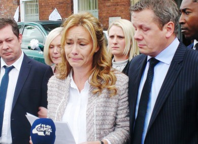 Sharon Wood makes her statement outside Wakefield Coroner's Court following the inquest
