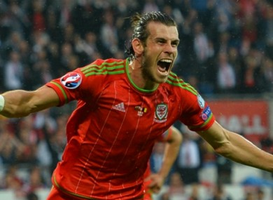 Gareth Bale celebrates scoring against Belgium.