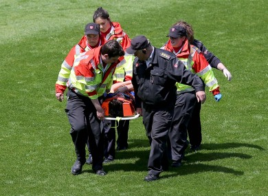 Alan O'Riordan was stretchered off yesterday but is thankfully on the mend.
