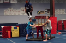 Man does a backflip and lands in a pair of trousers