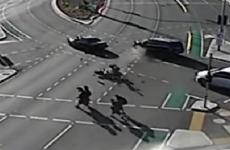 Hair-raising video shows schoolkids narrowly avoiding injury in motorbike crash