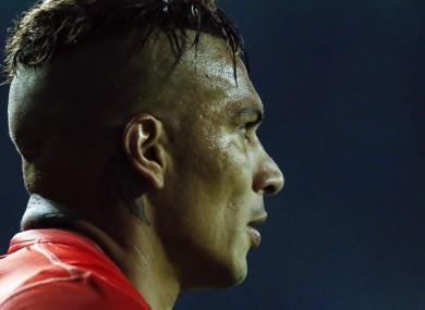 Peru's Jose Paolo Guerrero pictured during the Copa America quarter-final match between Peru and Bolivia.