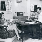 The university had separate housing for married students and their families in 1946.<span class=