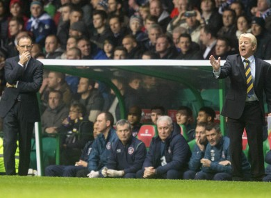 Strachan (right) and O'Neill at Celtic Park in November.