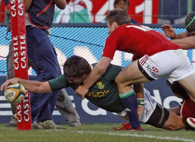 One of Fourie's most famous tries came against the Lions in 2009.