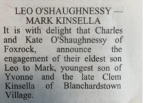 Everyone is sharing this special engagement notice from today's Irish Times