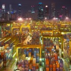 Shipping containers, indispensable tool of the globalised consumer economy, reflect the skyline in Singapore, the busiest transshipment port in the world and the second busiest in total shipping tonnage.<span class=