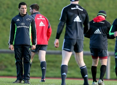 Howlett in the thick of Munster training in January.