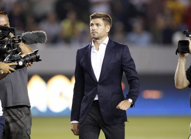 Gerrard was later introduced to the Galaxy fans.