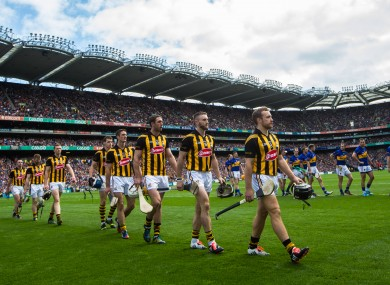 Kilkenny in the parade before last year's All-Ireland final against Tipperary.
