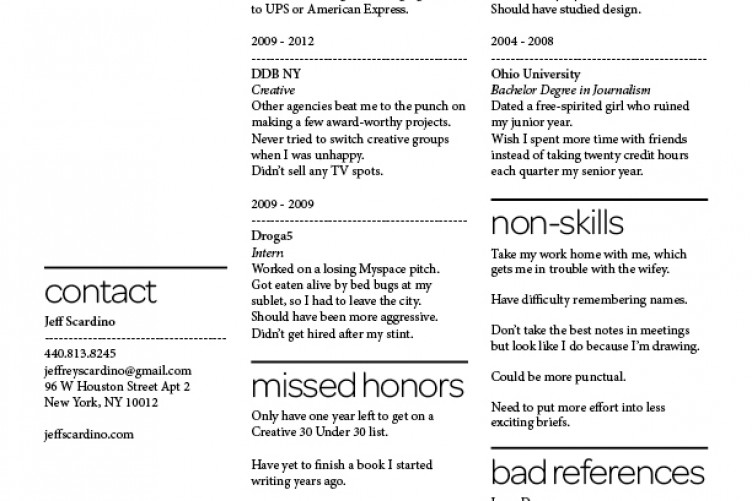 this guy listed his failures and flaws on his cv and it totally