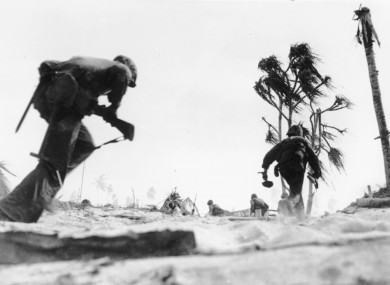 U.S. Marines are seen as they storm an airport on Tarawa atoll in 1943
