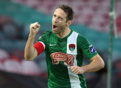 Cork City captain Alan Bennett celebrates scoring a goal.