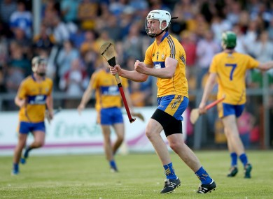 Conor Cleary celebrating Clare's Munster U21 hurling semi-final win over Waterford in July.