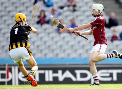 Jack Coyne scores Galway's first goal of the game past Kilkenny's Shane Murphy.