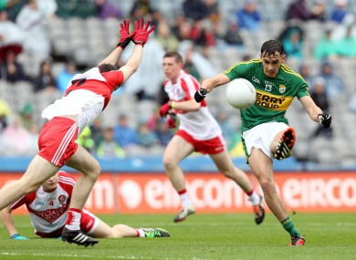 Foley gets his shot away despite the attention of Eoghan Concannon.