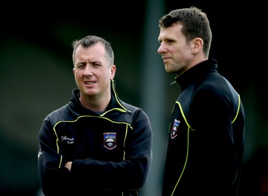 Sligo manager Niall Carew and selector Ronan Sweeney.