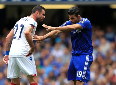 Chelsea's Diego Costa (right) and Crystal Palace's Damien Delaney argue during the Barclays Premier League match at Stamford Bridge.