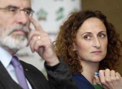 Sinn Féin MEP Lynn Boylan with party leader Gerry Adams