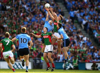 Mayo and Dublin players battling for possession last Saturday.